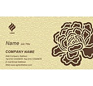 Business Cards 200pcs Classy Gray Flower Pattern of 2 Sided Printing of Fine Art Filmed Paper