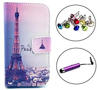 Signature Eiffel Tower Pattern PU Leather Case with Stylus and Dust Plug for Samsung Galaxy Trend Lite S7390/S7392