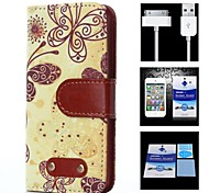 Butterfly Pattern Full Body Case+1 HD Screen Protector+1 USB Data Transmit and Charging Cable for iPhone 4/4S