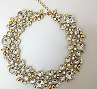 2015 New Design Lady Fashion Bib Statement Clear Crystal Vintage Cycle Round Necklace Charm