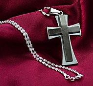 Classic Thick Stainless Steel Double Cross 28 inches Necklace Pendant