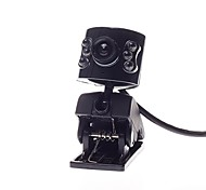 8 Megapixel Computer Camera USB 2.0  Video Clip-On Base Easy Install/Adjustable/360 ° Rotating with 6  Lights Black