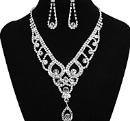 Fashion Nice Fully Rhinestone Silver Copper Jewelry Set(1 Set)