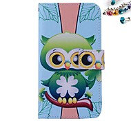 Green Owl Pattern PU leather Full Body Case Dustproof Plug With Card Slot and Stand for Motorola G2