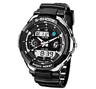 Men's Double-Breasted Round Rubber Electronic Sports Watch(Assorted Colors)