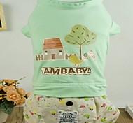 T-shirt/Pantalone - di Cotone - Bianco/Verde/Blu/Giallo - Cosplay