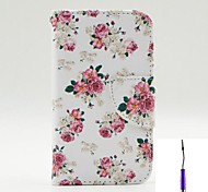 Charming Flowers Pattern PU Leather Case Cover with A Touch Pen ,Stand and Card Holder for iPhone 4/4S