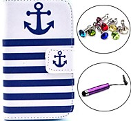 Striped Anchor Pattern PU Leather Case with Stylus and Dust Plug for Samsung Galaxy Fame S6810/S6818