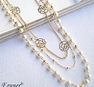 Eruner® Pearl Alloy Hollow Out Flower Necklace