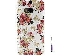 Beautiful Flowers Pattern TPU Soft Case and A Touch Pen  for HTC One M8