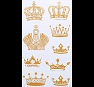 1PC Gold Tattoos Diamond Crown Temporary Tattoos Flash Tattoos Metallic Tattoos Wedding Party Tattoos(20.5*10cm)