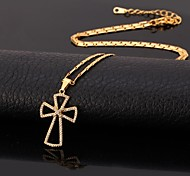 U7® Cubic Zirconia Cross Pendant Necklace 18K Real Gold Plated Choker Necklace Fashion Jewelry for Women High Quality