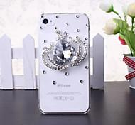 iPhone 4/4S - Edelstein-verzierte Hülle - Diamant/Strass verziertes Gehäuse ( Weiß , Kunststoff )