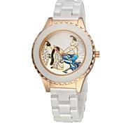 Women's Ceramic Watch Penguin Free Second Hand Vintage Bracelet Quartz Analog Wrist Watches Sparkle Rose Gold