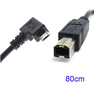 80cm en ángulo recto de 90 grados micro usb OTG para escáner de impresora estándar de tipo b cable de disco duro