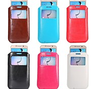 New  Slim Soft PU Leather Sleeve Pouch Case Cover Bag  with Pull Tab Windows Holster for  Galaxy S6 (Assorted Color)