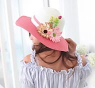 Women's Cute/Casual Summer Flower Straw Floppy Hat