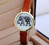 Women's Retro elephant  Leather Watch Circular High Quality Japanese Watch Movement(Assorted Colors)