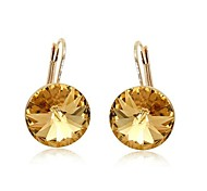 Exquisite Fashion 18K Rose Gold Plated Ladies Jewelry Dazzing Champagne Crystal Cubic Zirconia Dangle Earrings
