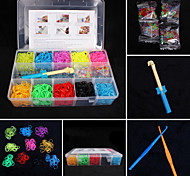 de color baoguang®rainbow telar bandas de color al azar establecidos (2100pcs gomas, clips 4 pak s, 1looms, 4hook + 1Box)