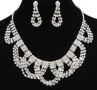 moda totalmente rhinestone de la joyería de cobre de plata (1 juego)