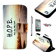 KARZEA™Horizontal Sunset Pattern PU Leather Case with Screen Protector and Stylus and Dust Plug for iPhone 4/4S