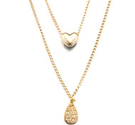 Fashion Double-deck MADE FOR YOU Heart Golden Alloy Pendant Necklace(1 Pc)