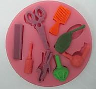 ножницы для волос средства в форме помады торт шоколадный силиконовые формы, кекс украшения инструменты, l8.2cm * w8.2cm * h0.9cm