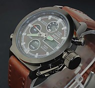 Men's Luxury Cow Leather Sport Military Watch Quartz Analog-Digital LED/Calendar/Chronograph/Water Resistant Cool Watch Unique Watch