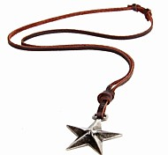 European And American Minimalist Retro Pop Star Pendant Leather Cord Necklace Wholesale Long Section
