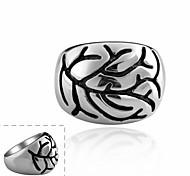 anillo maya moda ramal individual grande de acero inoxidable círculo hombre (negro) (1pcs)