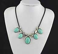 Toonykelly Vintage Look Antique Silver Plated Crystal Turquoise Stone Necklace(1 Pc)