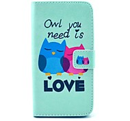 Owl You Need Love Pattern PU Leather Full Body Case with Stand and Card Holder For Wiko Getaway