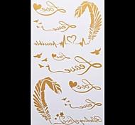 1PC Gold Tattoos Golden Feather Temporary Tattoos Flash Tattoos Metallic Tattoos Wedding Party Tattoos(20.5*10cm)