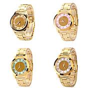 Women's Roman Scale Fading Color Dial Gold Band Quartz Analog Elegant Fashion Watch