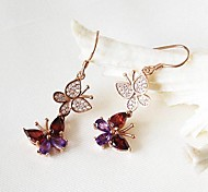 925 silver plated 18K Gold Garnet Earrings Amethyst