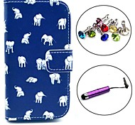 Elephant Carpet Pattern PU Leather Case with Stylus and Dust Plug for Samsung Galaxy Trend Lite S7390/S7392