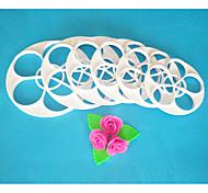 quatre c coupe de moule à cake, rose feuilles ensemble de coupe de fondant, outils fondantes outils de décoration de gâteaux, 6pcs / set