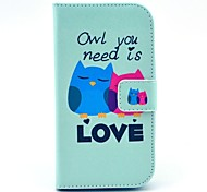 Owl You Need Love Pattern PU Leather Stand Case with Card Slot for Samsung Galaxy Ace Style LTE G357