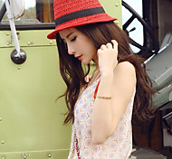 Women Fashion Straw Hats With Outdoor/Casual Fedora Hat Headpiece Red