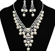 Fashion Beautiful Pearl Silver Copper Jewelry Set(1 Set)