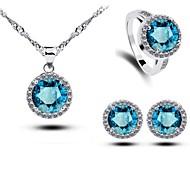 Women's Blue Crystal Round Handmede 3pcs Jewelry Sets