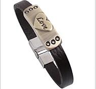 Tina -- Korean Fashion Alloy Heart LOVE Leather Bracelet in Daily