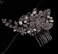 Wedding Bride Flower Crystal Silver Fresh Pearl Rose Combs Hair Accessories