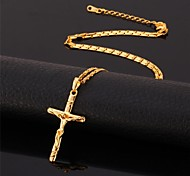 U7® Crucifix 18K Real Gold Plated Saint Cross Jesus Choker Necklace Pendant Religious Jewelry