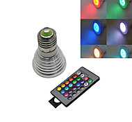 1 pcs E27 5W 3X 72LM 2800-3500/6000-6500K RGB/Color-Changing Remote-Controlled Spot Lights AC 220-240V