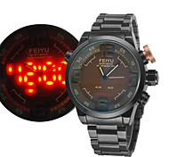 Men's Quartz Militray Watch Analog-Digital LED Display Alarm/Month/Second/Date/Week/Dual Time Zones Sport Watch