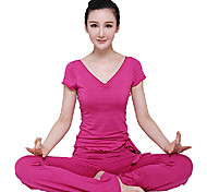 Short Sleeves Red Yoga Fitness Suit