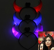 1Pair Flash Glowing Devil Horns Head Hoop Light-up Cosplay Gadgets for Halloween Costume Party(3 Color to Choose)