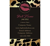 Business Cards 200pcs Black Yellow Leopard Print Lip Pattern 2 Sided Printing of Fine Art Filmed Paper